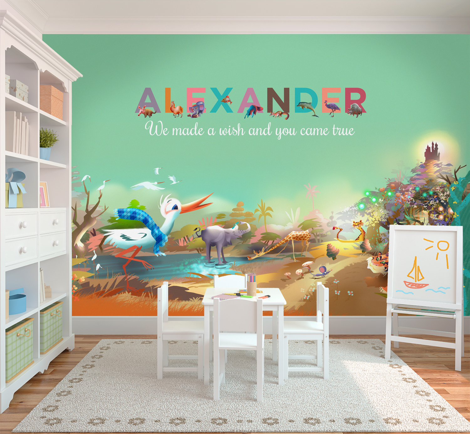 Bringing colour to a baby 39 s room mygivenname for Children room mural
